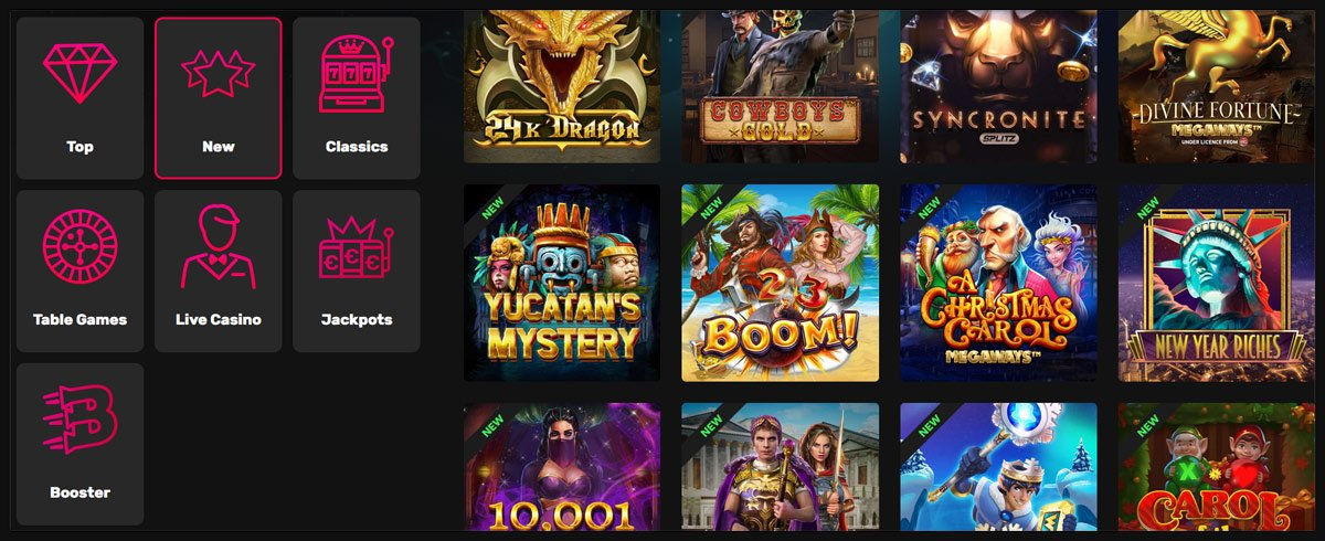 Rocket Casino games page
